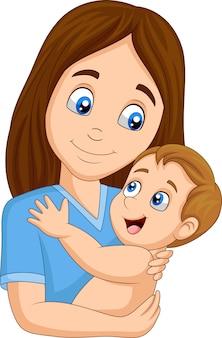 Cartoon happy mother hugging her baby