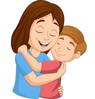 Cartoon happy mother hugging her son