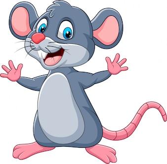 Cartoon happy mouse waving