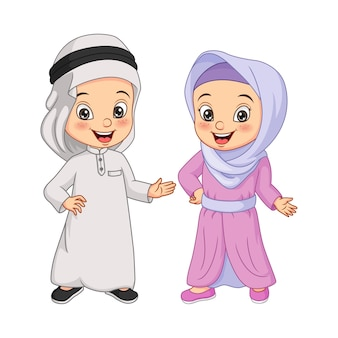 Cartoon happy muslim arabian kids illustration