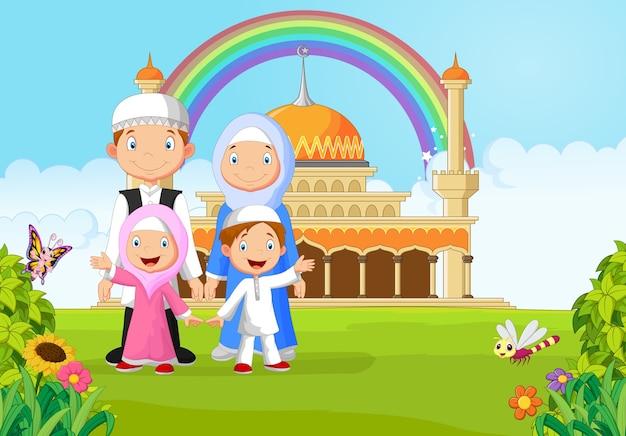 Cartoon happy muslim family with rainbow
