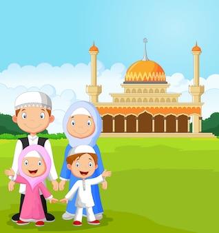 Cartoon happy muslim family