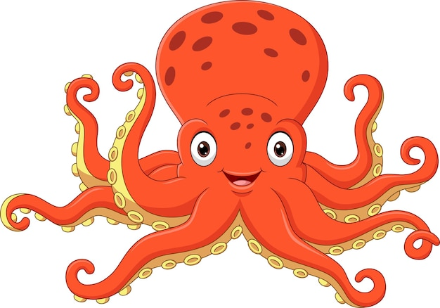 Cartoon happy octopus on white background