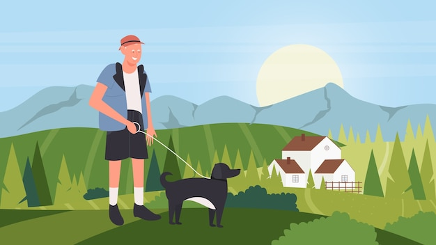 Cartoon happy owner man walking with domestic animal companion