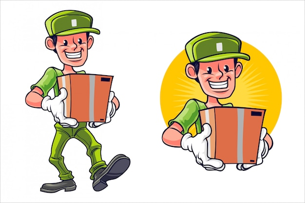 Cartoon happy package service dude
