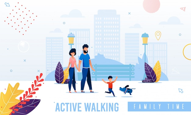 Cartoon happy parents and child walking illustration