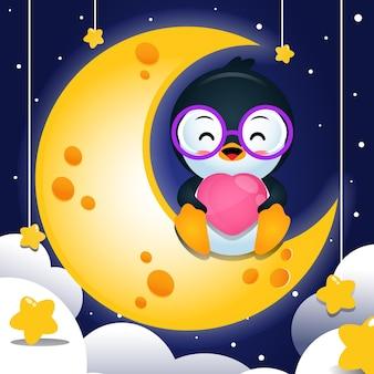 달에 앉아서 작은 마음을 잡고 만화 행복 펭귄