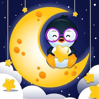 달에 앉아서 별을 들고 만화 행복 펭귄