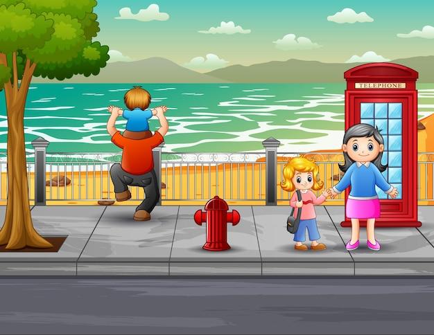 거리 그림에서 만화 행복한 사람들