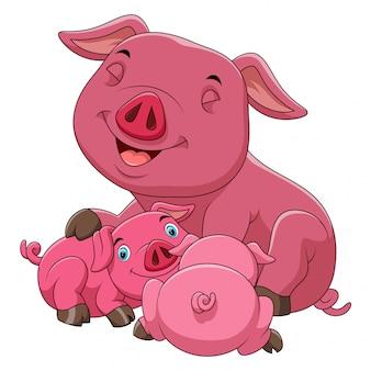 A cartoon happy pig family