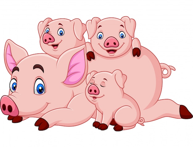 Cartoon happy pig mother with piglets