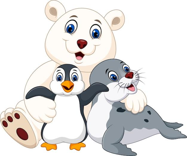 Cartoon happy pole animals