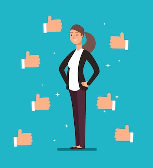 Cartoon happy proud businesswoman leader with many thumbs up hands.