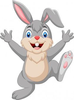 Мультяшный счастливый кролик на белом фоне