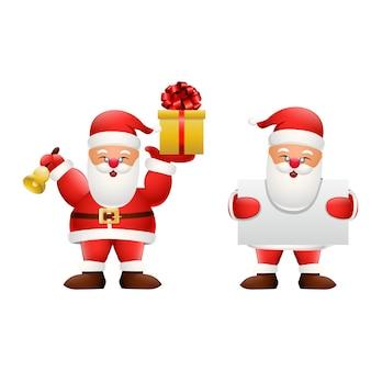 빈 기호를 들고 만화 행복 한 산타 클로스