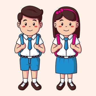 Cartoon happy school boy and girl in uniform