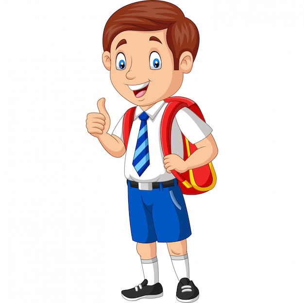 Cartoon happy school boy in uniform giving a thumb up