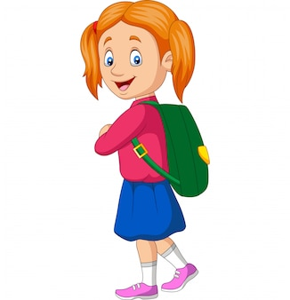 Cartoon happy school girl carrying backpack