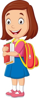 Cartoon happy school girl carrying book and backpack
