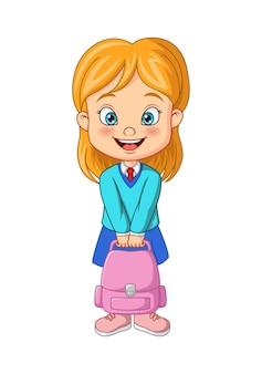 Cartoon happy school girl holding backpack