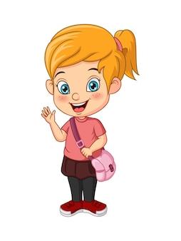 Cartoon happy school girl waving hand