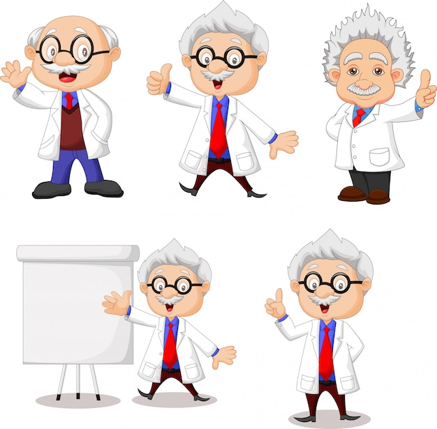 Cartoon happy scientist collection set