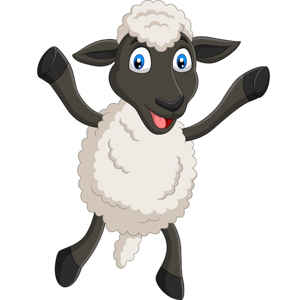 Cartoon happy sheep posing isolated