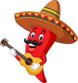 Cartoon happy sombrero chili pepper playing a guitar