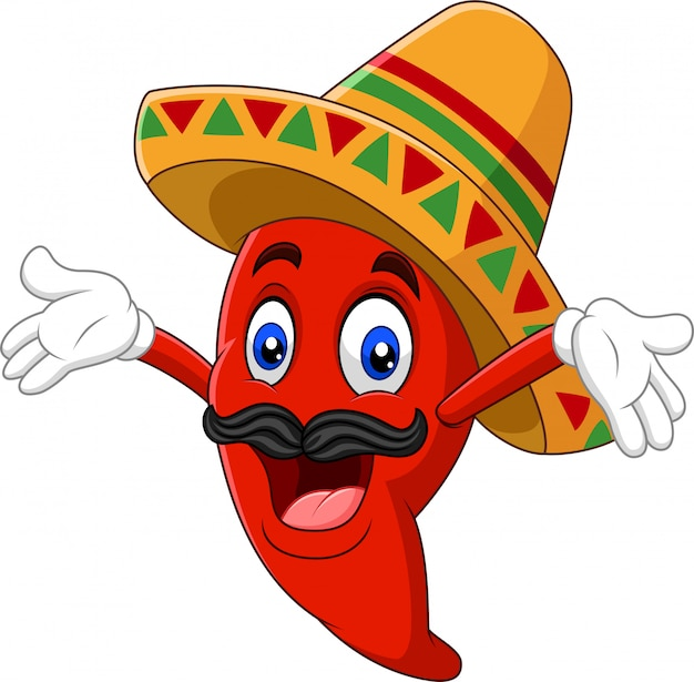 Cartoon happy sombrero chili pepper