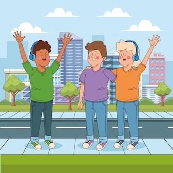 Cartoon happy teeenage boys in the street