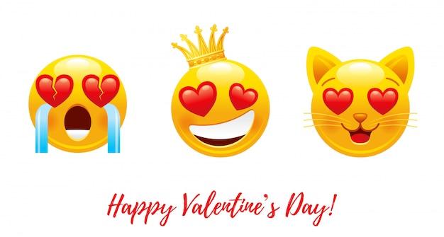 마음 사랑 emoji와 함께 행복 한 발렌타인 만화.