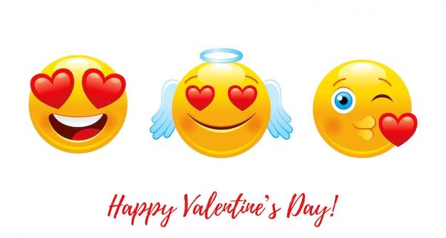 Cartoon happy valentine's day with heart love emoji.