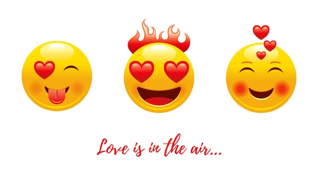 Cartoon happy valentine's day with heart love emoji.