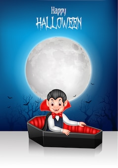 Cartoon happy vampire in his coffin with halloween background