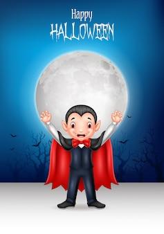 Cartoon happy vampire with halloween background