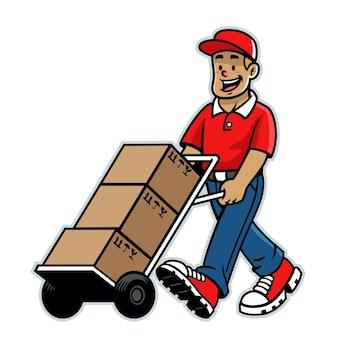 Мультфильм счастливый складской рабочий талисман