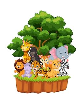 ジャングルの中で幸せな野生動物を漫画