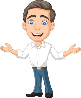 Cartoon happy young businessman and presenting