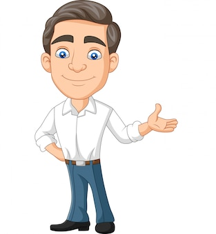 Cartoon happy young businessman presenting