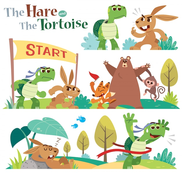 Cartoon the hare and the tortoise character set.