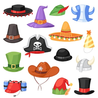 Cartoon hat  comic cap for celebrating birthday party or chrisrmas with headwear or head-dress illustration set of funny headgear cowboy