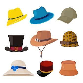 漫画の帽子。ワードローブヘッドウェアフラットファッションコレクションの男性と女性のスタイリッシュなアクセサリー。女性と男性の帽子のファッションコレクション、セットイラストの頭飾り
