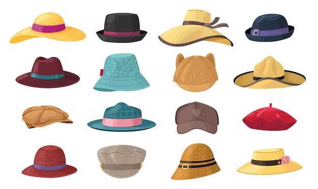 Мультяшные шапки. набор стильных головных уборов для мужчин и женщин, винтажный классический и современный головной убор, лето или осень, шляпа для джентльмена или леди, коллекция изолированных элементов мультяшного вектора