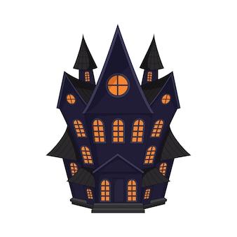 Cartoon haunted old house isolated on white