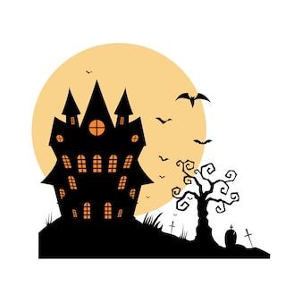 달 배경에 만화 유령의 오래 된 집