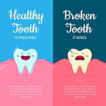 Cartoon healthy and ill broken teeth in mouth with gums