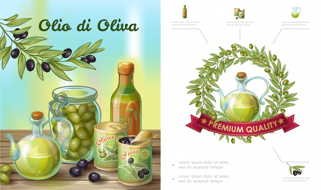Cartoon healthy olive composition with wreath bottle jar of natural oil cans pot of green and black olives