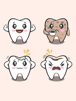Cartoon  of healthy and unhealthy teeth