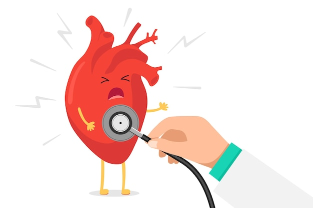 Мультяшный сердечный персонаж, нездоровый больной смайлик, боль, эмоция и рука, держащая стетоскоп, проверяют скорость аритмии. вектор кровеносного органа с молнией сердечного приступа концепции иллюстрации