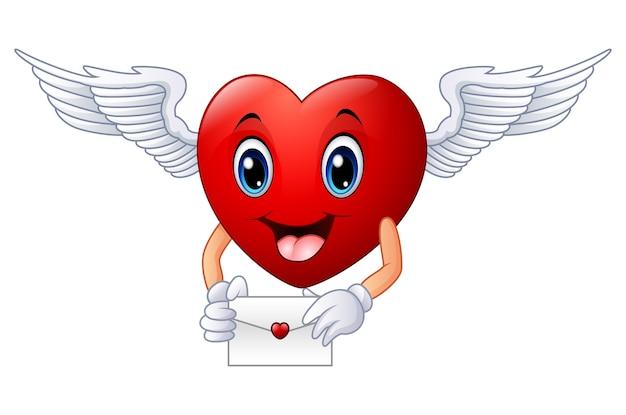 Cartoon heart holding an envelope